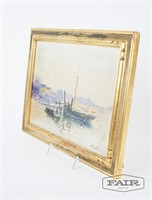 Max Dellfant oil painting of harbor scene, signed