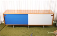 Credenza with painted doors and metal legs