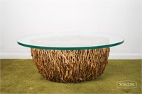 Bird nest coffee table with glass top