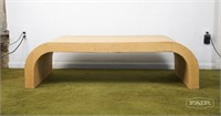 Parsons Style Grass Grass Cloth Coffee Table