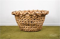 Rattan woven coffee table with wooden surface