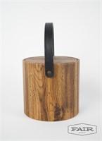 Vintage '70s mod faux wood vinyl ice bucket