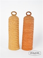 Italian woven bottle covers and goblet