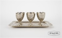 Moroccan mint tea serving tray and cups for 6
