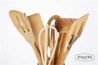 Collection of wooden cooking utensils