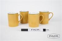 4 Schmid yellow porcelain espresso cups