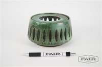 Green ceramic candle holder, signed