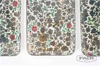 Vintage Viking floral drink tray set of 4