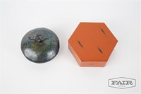 Asian Pottery vessel and box