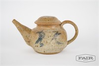 Japanese style pottery teapot, signed