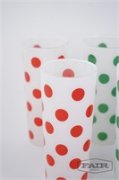 6 frosted glass and Polka dot drinking glasses