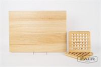 Wooden cutting/serving board and 2 trivets
