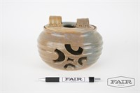Pottery candle holder with lid, Signed Cleve Dian