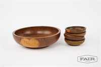 Teak wooden bowls- 1 large and 4 small