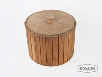 Rustic wooden bucket with lid