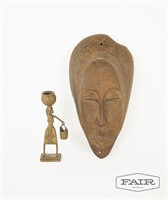 Decorative metal face wall hanging and figurine