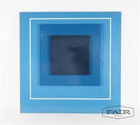 Blue and white square painting by Ann Williams