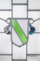 Stained glass panel with crest design