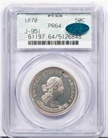 50C 1870 J-951. PCGS PR64 CAC