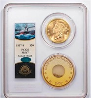$20 1857-S PCGS MS67 CAC EX S.S. CENTRAL AMERICA