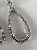 White Crystal Dangle Earrings