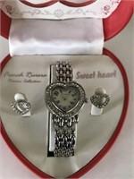Sweetheart Watch & Earrings Set