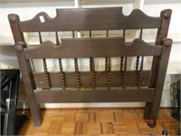 "EARLY WOODEN BED - NO RAILS - 44.5"" W AS FOUND"