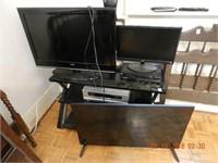 LOT TV STAND - 3 TVS - NOTE - NO CORDS - 2 TVS LAR