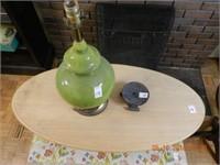 UPHOLSTERED BLANKET BOX - WOOD TABLE - LAMP