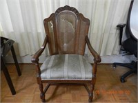 CARVED OAK ARM CHAIR AS IS