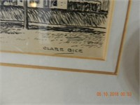 PEN / INK PICTURE BY CLARE BICE FRAME SIZE