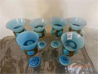 """LOT 6 BLUE GLASS GOBLETS / BRASS WRAP 8"""" H"""