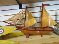 "Wooden model sail boat.  26"" long"