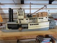 "Wooden model paddle wheeler.  28"" long"