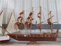 "Wooden model ship.  34"" long"