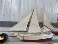 "Wooden model ship.  32"" long"