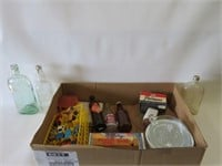 Box of assorted bottles, toys, etc.