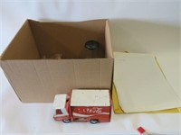 Box of assoted toys, matches, firestone banner