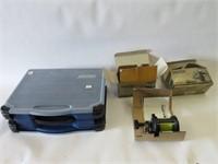 Tackle box and 2 fishing reels