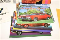 Group of muscle car pictures, records, 8 tracks,