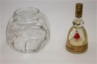 Candy dish and Bols wind up liquor bottle