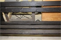 """Plastic and wood garden bench.  74"""" wide, 30"""""""