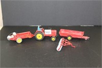 Dinky Toys tractor, manure spreader, disc and