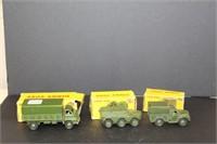 """3 Dinky Toy army trucks.  3""""-4"""""""