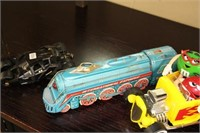 2 TOY TRAINS & 2 CARS