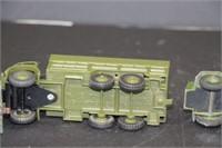 "3 Dinky Toys army trucks.  4"", 5"""