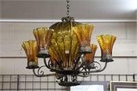 """AMBER HANGING LAMP 30""""w"""