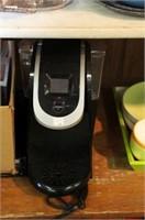 KEURIG COFFEE MAKER, RACK & COFFEE