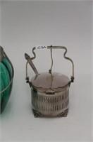 OIL LAMP, SPOONERS, BASKET DISH, ETC