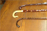 """3 WOODEN CANES - 34"""", 37"""" & 45"""""""